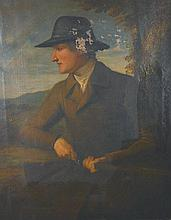 Early 19th Century English School. Portrait of a Man holding a Gun, in an extensive Landscape, Oil o