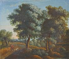 Circle of Theobald Michau (1676-1765) Dutch. A Classical Landscape, with a Man and Dog on a Path, Oi