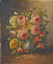 "M… Jamin (19th Century) British. Still Life of Flowers in a Vase, Oil on Canvas, Signed, 18"" x 15"","