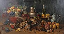 Johan Borovsky (19th Century) Russian. A Still Life of Dead Game, Fruit and Wine, Oil on Canvas, Sig