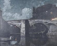 Harold Speed (1872-1957) British. 'Bridge at Night', a Moonlit River Scene, Oil on Canvas, Signed, 3