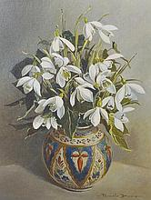 "Pamela Davis (20th Century) British. Still Life of Snowdrops, Oil on Artists Board, 10"" x 8"", togeth"