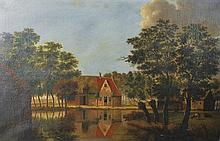 19th Century Dutch School. A Tranquil River Landscape, with a House in the distance, Oil on Canvas,
