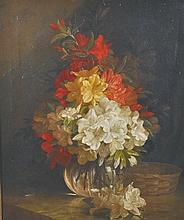 John Fitz-Marshall (1859-1932) British. Still Life of Flowers in a Glass Vase on a Ledge, Oil on Can