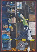 Sean Jefferson (20th – 21st Century) British. Interior of a Fantasy Apothecary, with a Monkey and a