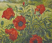 A… Griffin (20th Century) British. 'Poppies', a Landscape with Poppies in the Foreground, Oil on Can