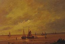 20th Century Dutch School. A Coastal Scene with Beached Vessels, Oil on Panel, Indistinctly Signed,