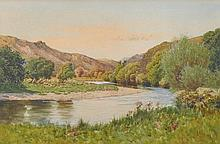 """J… M… Southern (19th – 20th Century) British. 'A River Valley in Wales', Watercolour, Signed, 11.5"""""""