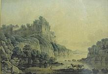 Late 18th Century English School. A Classical River Landscape, with Figures fishing in the foregroun