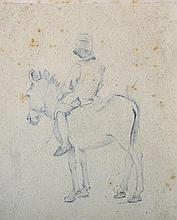 "19th Century English School. Study of a Young Boy on a Donkey, Pencil, Unframed, 5.25"" x 4.5"", toget"