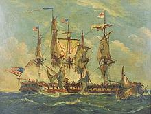"""Circle of Bernard Finegan Gribble (1873-1962) British. """"The American Boat Constitution Defeating The"""