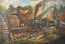 Higginson (20th Century) British. A Steam Train Pulling into a Station, Oil on Canvas, Signed, Unfra