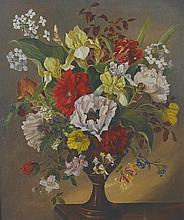 David de Winton (20th Century) British. Still Life with Flowers in a vase, Oil on Board, Indistinctl