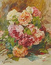 "Georges Jeannin (1841-1925) French. Still Life of Flowers, Oil on Canvas, Signed, 16"" x 13""."