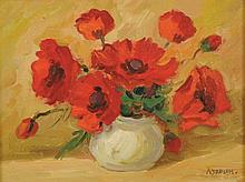 20th Century Russian School. Still Life with Flowers in a White Vase, Oil on Canvas, Indistinctly Si