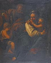 17th - 18th Century Italian School. The Holy Family, Oil on Canvas, Inscribed 'J C Mansel' on the re