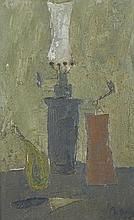 20th Century French School. Still Life with an Oil Lamp, Coffee Grinder, Onion and a Knife on a Tabl