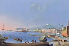 "19th Century Italian School. 'Napoli dal Carmine', Gouache, 12"" x 17.25""."