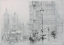 "William Walcot (1874-1943) British. ""Westminster"", a Street Scene with Westminster Abbey in the Fore"