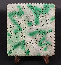AN EARLY 20TH CENTURY CHINESE CARVED AND PIERCED JADE ZODIAC PLAQUE, of larger t