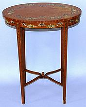 A SMALL EDWARDIAN PAINTED SATINWOOD OVAL TABLE on tapering   legs.1ft 10ins