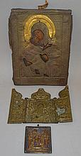 A GREEK ICON, 7.5ins x 5.5ins, a square brass icon and a brass folding icon (3).
