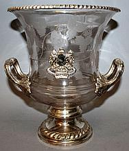 A GOOD ENGRAVED GLASS ICE BUCKET with plated mounts.