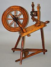 A GOOD 18TH CENTURY FRUITWOOD SPINNING WHEEL.