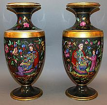 A SUPERB LARGE PAIR OF 19TH CENTURY PARIS PORCELAIN VASES painted with Chinese f