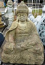 A RECONSTITUTED GARDEN ORNAMENT modelled as a seated Buddha.  2ft 0ins high.
