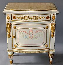 A PAINTED AND GILDED BEDSIDE CUPBOARD with marble top, single drawer and panelle