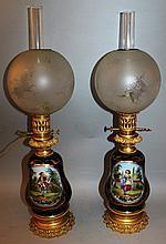 A GOOD PAIR OF 19TH CENTURY FRENCH PORCELAIN OIL LAMPS AND SHADES, the blue bodi
