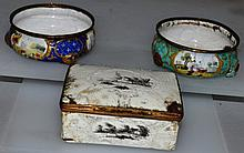 TWO BILSTON ENAMEL SNUFF BOXES and a LARGER BOX (AF).