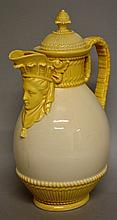 A ROYAL WORCESTER RARE COFFEE JUG AND COVER with mask spout with ivory coloured