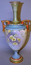 A ROYAL WORCESTER TWO HANDLED VASE painted with daisies on a blue and green grou