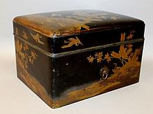 A 19TH CENTURY JAPANESE MEIJI PERIOD LACQUERED INCENSE BOX, LINER & COVER, each