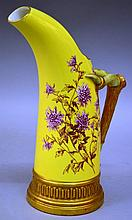 A GOOD ROYAL WORCESTER YELLOW TUSK VASE painted with flowers with gilt rustic ha