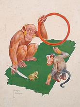 Clarence Lawson Wood (1878-1957) British.   Monkeys Training