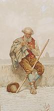 Eduard Vitali (19th Century) Italian.   An Old Man Seated on