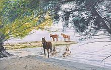 Roland Vivian Pitchforth (1895-1982) British.   Horses on a