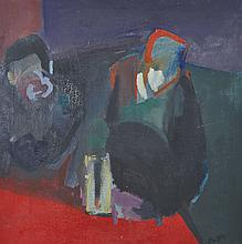 Boyd (20th Century).    Two Figures by a Table, Oil on Canva