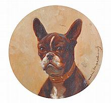 Jean Marchand (19th Century) French.   A Bulldog, with a Col