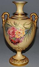 A FINE ROYAL WORCESTER BLUSH IVORY VASE painted wi