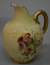 A ROYAL WORCESTER BLUSH IVORY JUG, shape number 10