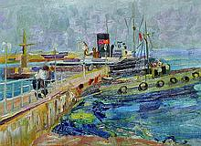 20th Century Russian School.    Boats in a Harbour