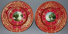 A FINE PAIR OF ROYAL WORCESTER PLATES painted with