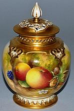 A ROYAL WORCESTER POT POURRI AND COVER painted wit