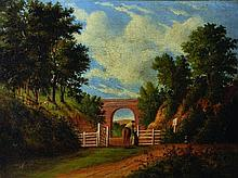 19th Century English School.    Figures by a Gate,