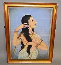 INDIAN SCHOOL Half length watercolour portrait of
