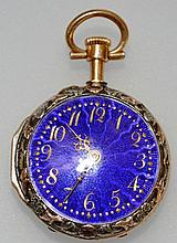 A MINIATURE GOLD AND BLUE ENAMEL FOB WATCH.